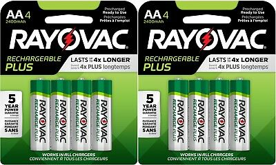 Rayovac Recharge PLUS AA 2400mAh NiMH Batteries 8 Pack