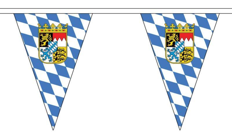 BAVARIA WITH CREST TRIANGULAR BUNTING 5 metres 12 flags flag OKTOBERFEST GERMANY