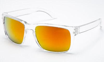Flashing Sunglasses (Sunglasses Clear See Through Transparents Frame Orange Yellow Flash Mirror)