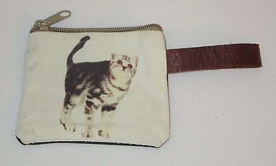 """Cat Coin Purse Leather Strap New Zippered 4"""" Long Cats Pets Gray White Stripes"""