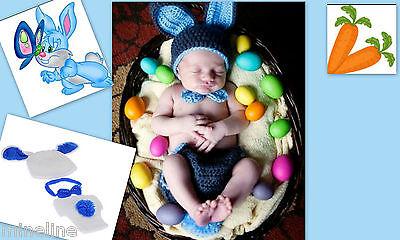 toshooting Kostüm Kleiner Hase 3Tlg. 0-6 Monate weiß blau ★★★Nr.Z (Hase Baby Kostüm)