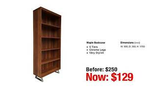 MAPLE BOOKCASE FIVE TIERS Leumeah Campbelltown Area Preview