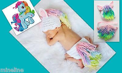 ★★★NEU Baby Fotoshooting Kostüm My little Pony weiß bunt 0-6 Monate★★★G ()