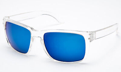 New Clear Frame Sunglasses Ocean Blue Flash Mirror Transparents Lens Retro (Ocean Blue Sunglasses)
