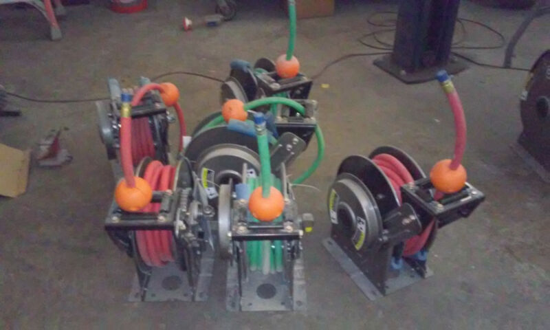 retractable Hannay 3/4 hose reels with high pressure hoses