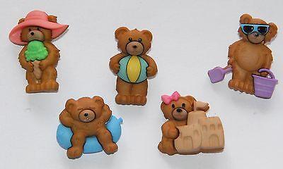Summer Bears / Teddy Bear Beach Theme Buttons / Dress It Up Buttons Jesse James Beach Teddy Bear
