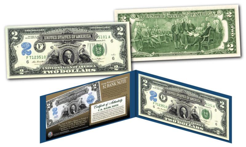 1899 George Washington Two-Dollar Silver Certificate designed on modern $2 bill