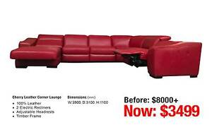 CHERRY LEATHER CORNER LOUNGE Leumeah Campbelltown Area Preview