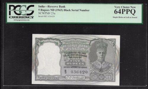 INDIA Paper Money - WWII Era 5 Rupees (1943) P23a - PCGS 64PPQ