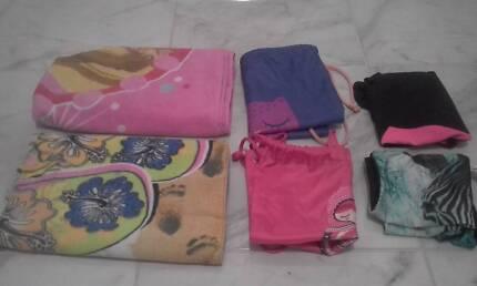Girls sz 12 bathers, towels & bags
