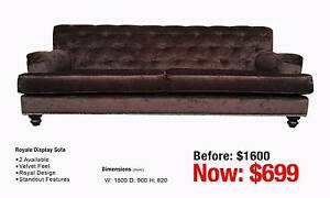 ROYALE WINE VELVET DISPLAY SOFA Leumeah Campbelltown Area Preview