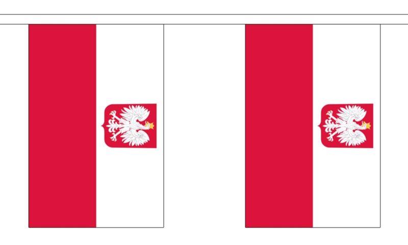 POLAND EAGLE 3 METRE BUNTING 10 FLAGS flag 3M POLISH WARSAW
