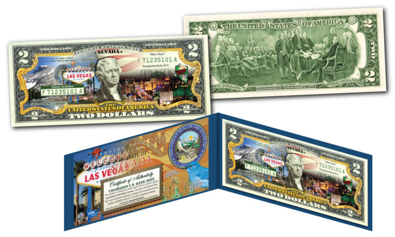NEVADA Genuine Legal Tender $2 Bill USA Honoring America