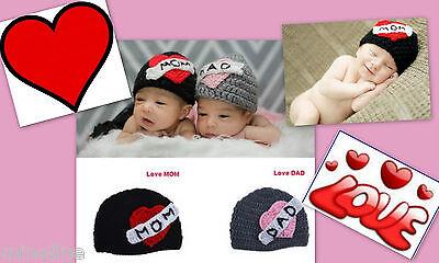 ★★★NEU Baby Fotoshooting Kostüm I Love my Mum Dad Mütze 0-6 Monate★★Nr.B ()