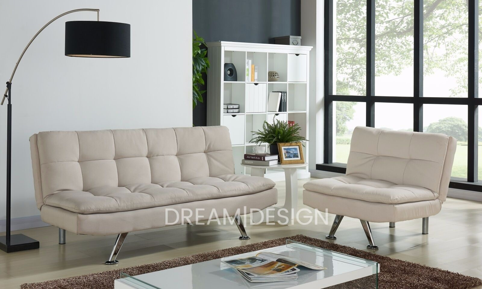 Modern 3 Seater Fabric Sofabed And