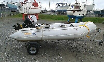 EXCEL SB330 infllatable dinghy,outboard and trailer