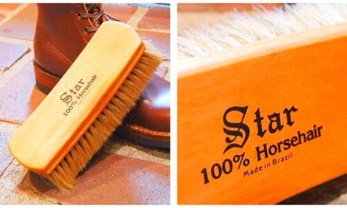 "Large STAR Pro 8"" Shoe SHINE BRUSH Light color Heather Brown Horsehair BRAZIL"