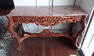 - Solid Wood Marble Top Console Table
