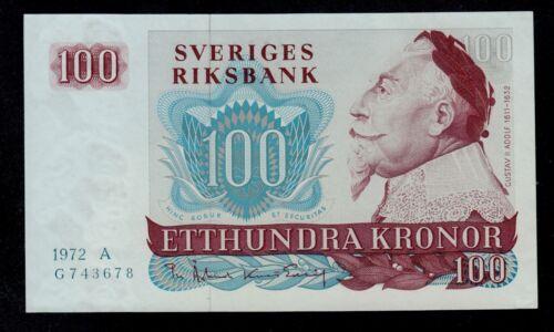SWEDEN 100 KRONOR 1972 A PICK # 54b AU-UNC.