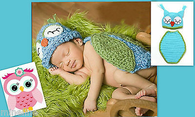 ★★★ NEU Baby Fotoshooting Kostüm Kleine Eule türkis 2Tlg. 0-6 Monate ★★★X