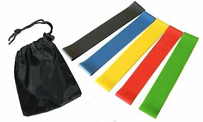 Exercise Resistance Loop Bands Set w/ FREE Storage Pouch – 5 Fitness Levels Pack Fitness Equipment & Gear