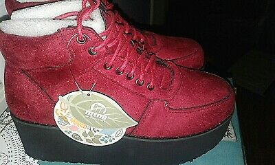 MTNG Shoes CHERRY RED Suede WEDGE PLATFORM ANKLE BOOTS LEATHER Petra Size 7-7.5 Red Suede Wedge