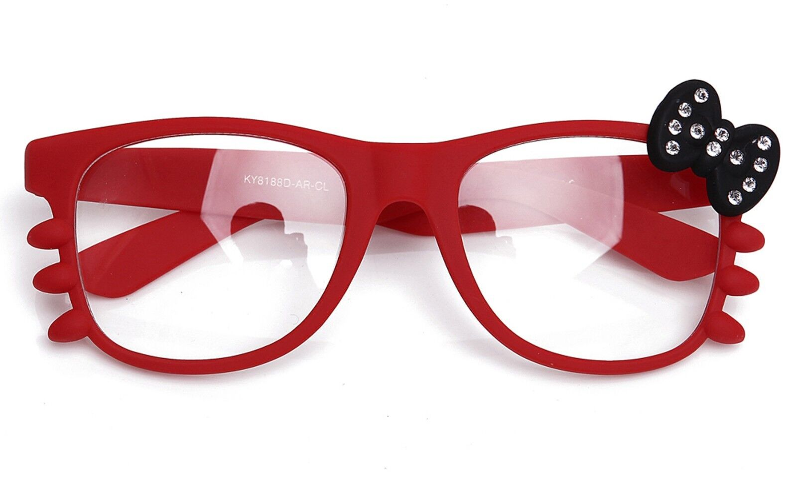 Clear Lens Glasses Diamond Bow & Whiskers Rubber Frame Cosplay Hello Kitty