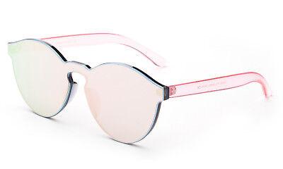 Pink Plastic Sunglasses (Pink Transparent Cat Eye Sunglasses Gorgeous Keyhole Mirror Colorful Lens UV100% )