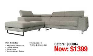 SHALE CHAISE SOFA Leumeah Campbelltown Area Preview