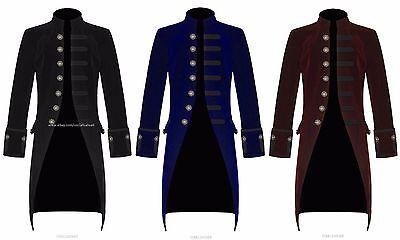 Men's Velvet FROCK COAT Gothic Victorian Jacket Steampunk