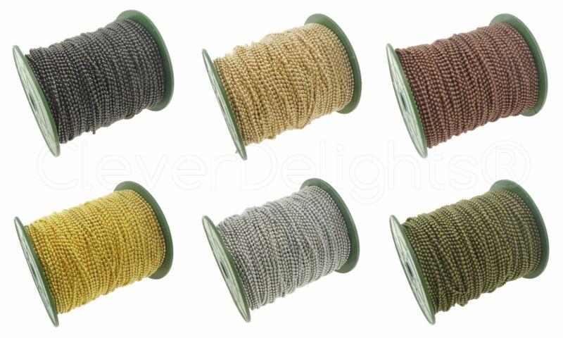 Bulk Ball Chain - Silver Gold Bronze - 1.5mm 2.0mm 2.4mm 3.2mm - 30 100 330 Ft