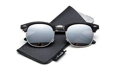 Half Wood Design Frame Sunglasses Flash Mirror Round Lens with Faux Leather (Fake Designer Sunglasses)
