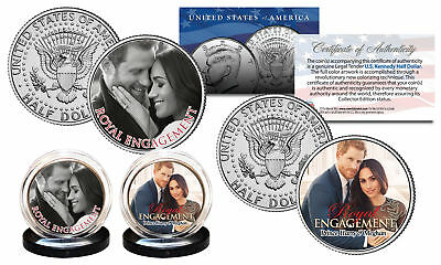 Prince Harry   Markle Royal Engagement Official Photo Jfk Half Dollar 2 Coin Set