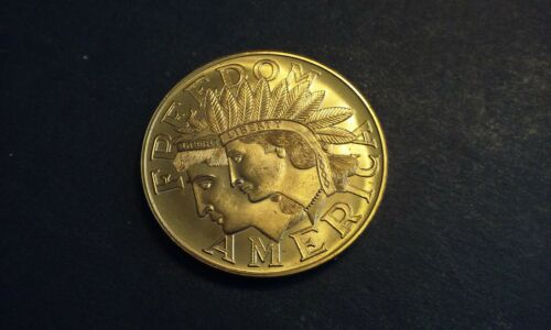 Gold Tone FREEDOM AMERICA COIN Native Image Cortland NY Historical Society Inc