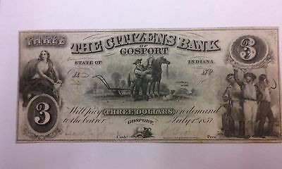 1857  3 The Citizens Bank Of Gosport Indiana
