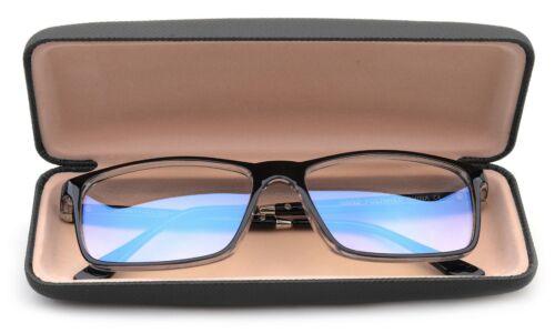 Blue Ray Blocking Reading Glasses for Men Large Rectangular Frame w/ Hard case
