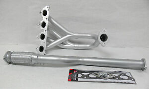 OBX Silver Header Manifold Exhaust Fits 2002 thru 2007 Tiburon Base GS 2.0L DOHC