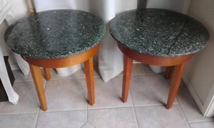 2 Solid Polished Marble Sidetables