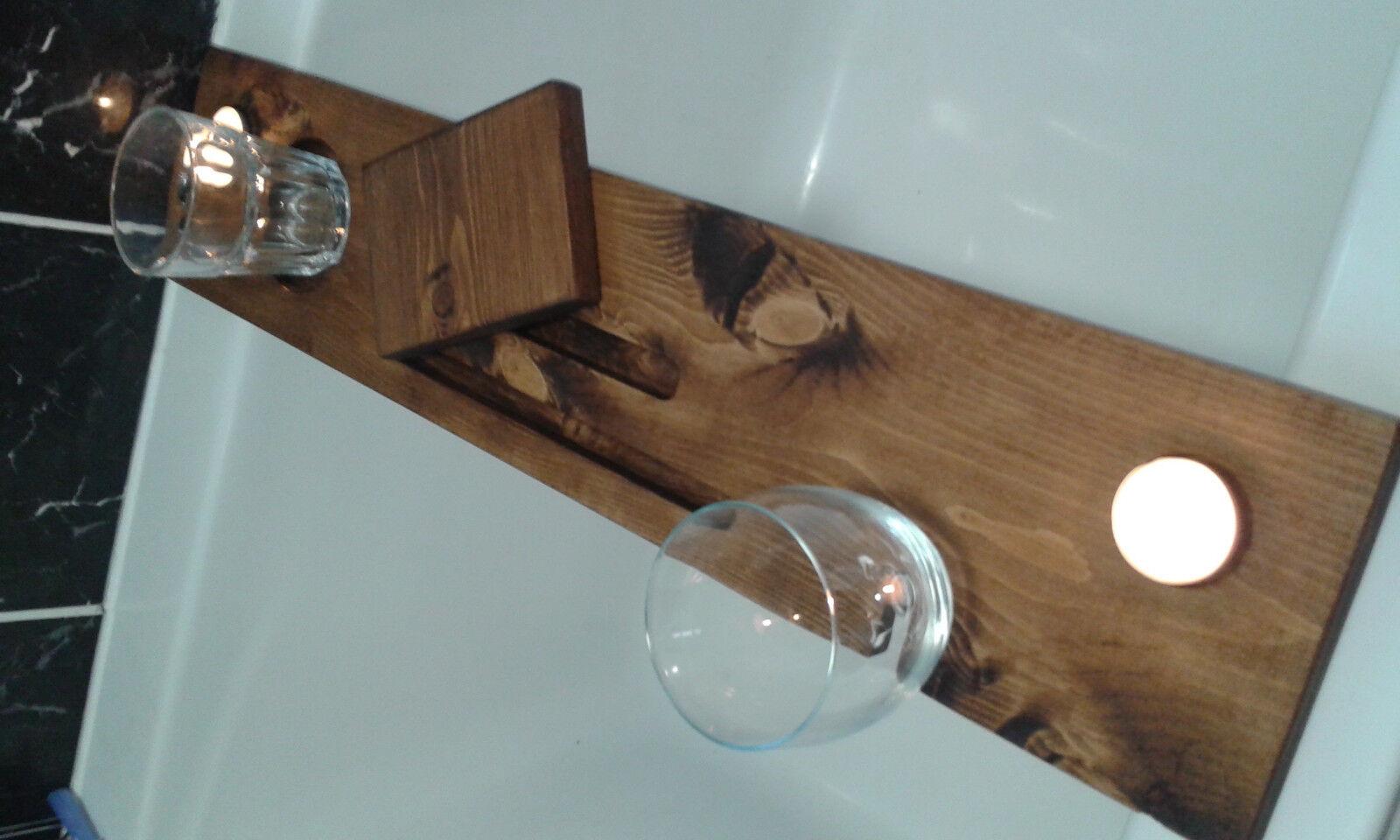 WOODEN BATH Caddy - Solid Wood Tray Bridge Shelf - Tablet Phone ...