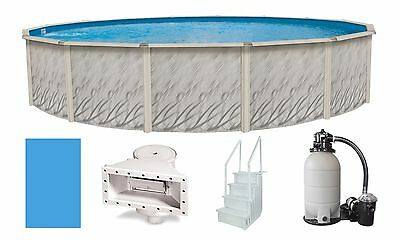 """Above Ground 15'x52"""" Round Meadows Swimming Pool w/ Liner, Step, Filter Kit"""