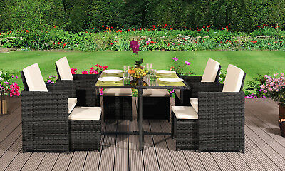 Garden Furniture - 9PC Rattan Outdoor Garden Patio Furniture Set - 4 Chairs 4 Stools & Dining Table