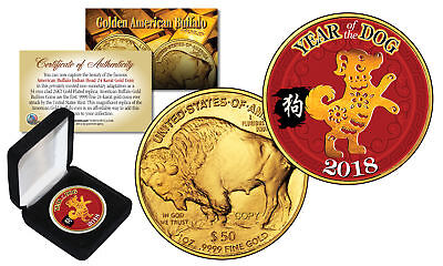 2018 Chinese YEAR OF THE DOG 24K Gold Clad $50 American Buffalo Tribute Coin BOX