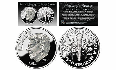 First-Ever RONALD REAGAN Tribute .999 Fine Silver Plated Commemorative Dime