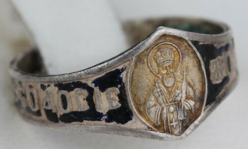 Ring RUSSIAN Empire Pre 1917 Saint Theodosius STERLING Silver 84 Russia ENAMEL