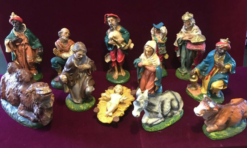 vtg Christmas NATIVITY paper mache hand painted Italy  Fontanini?