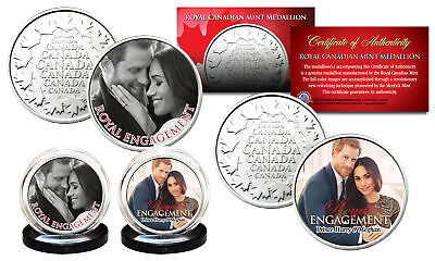 Prince Harry   Markle Royal Engagement Rcm Medallions Official Photos 2 Coin Set