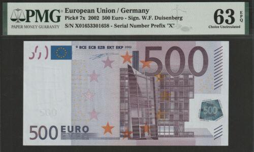 500 euro banknote 2002 UNC Prefix-X Germany sign. Duisenberg PMG 63