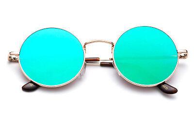 Classic Round John Lennon Sunglasses Men Women Flash Mirrored Lens Eyewear (Cheap Vintage Eyewear)