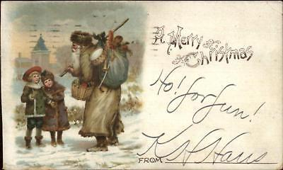 Christmas - Santa Claus Long Brown Coat c1900 Private Mailing Card - Santa Claus Coat