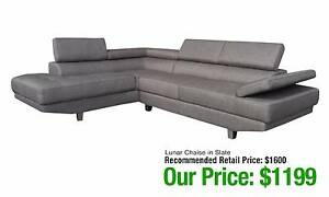 LUNAR CHAISE LONGUE IN SLATE GREY COLOUR W/ RECLINABLE HEADRESTS